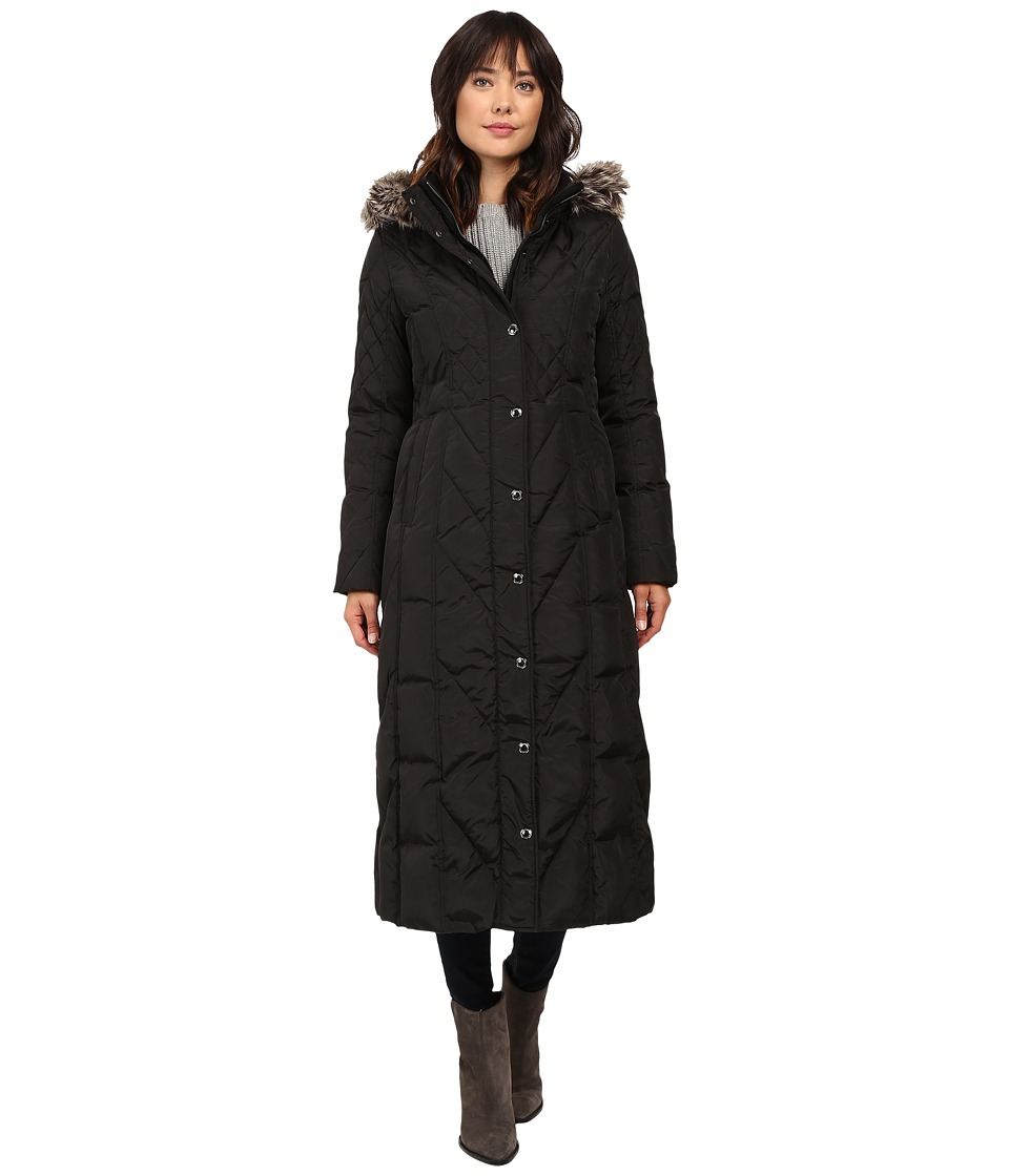 London Fog - Chevron Quilted Maxi Coat with Fur Hood (Black) Women's Coat