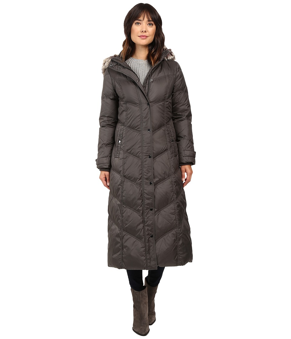 London Fog - Chevron Quilted Maxi Coat with Fur Hood (Gunmetal) Women's Coat