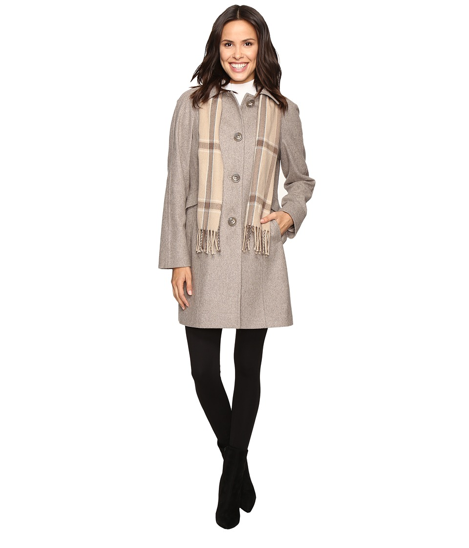 London Fog - Wool Single Breasted Coat (Taupe Heather) Women's Coat
