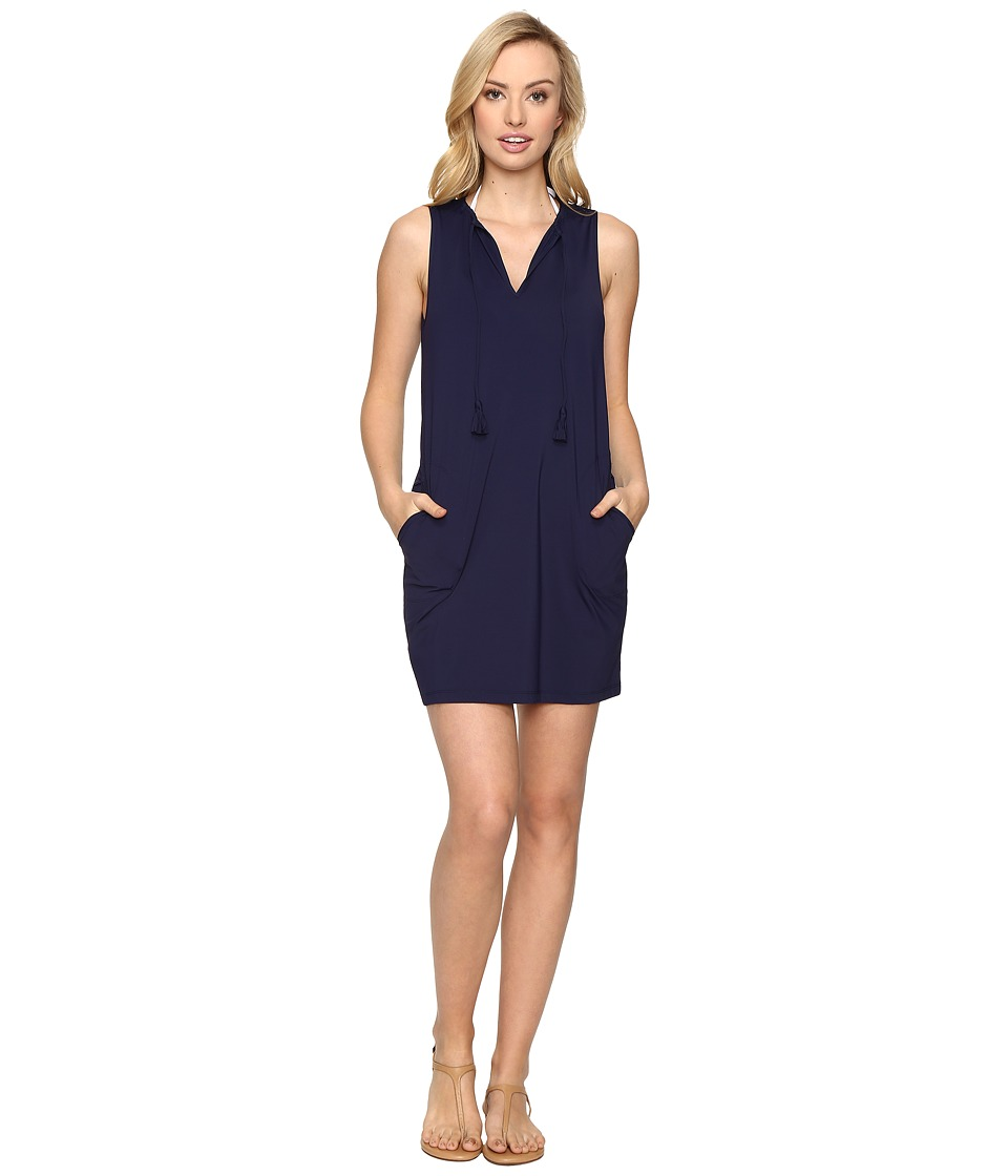 Tommy Bahama - Pearl Split-Neck Swim Dress Cover-Up (Mare Navy) Women's Swimwear