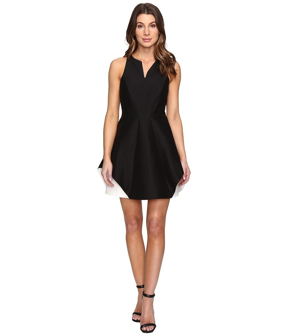Halston Heritage - Sleeveless Organic Notch Neck Color Blocked Dress (Black/Chalk) Women's Dress