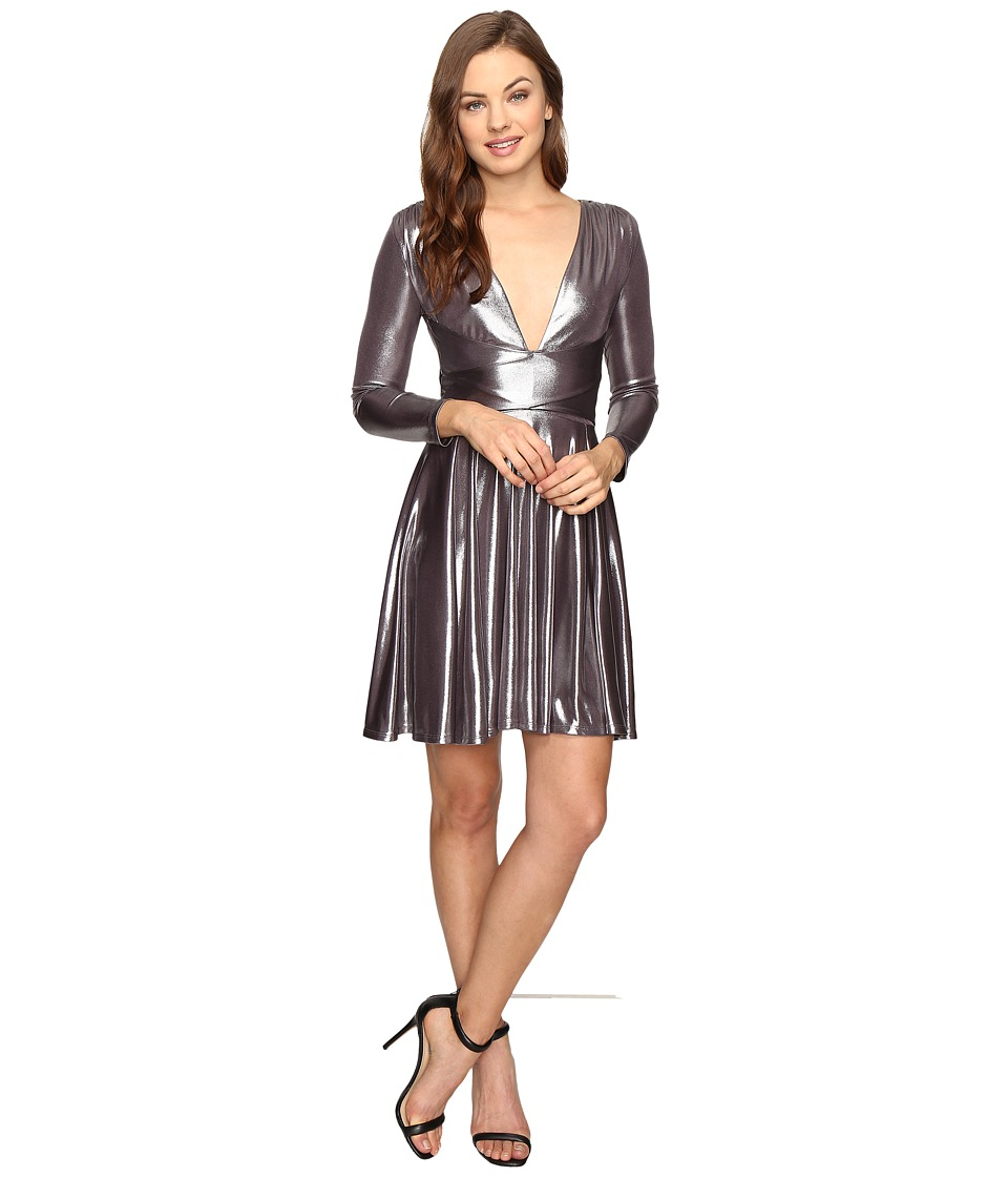 Halston Heritage - Long Sleeve V-Neck Draped Waist Metallic Jersey Dress (Gunmetal) Women's Dress
