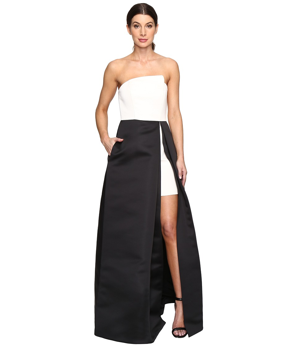 Halston Heritage - Strapless Hi-Lo Color Blocked Structure Gown (Black/Chalk) Women's Dress