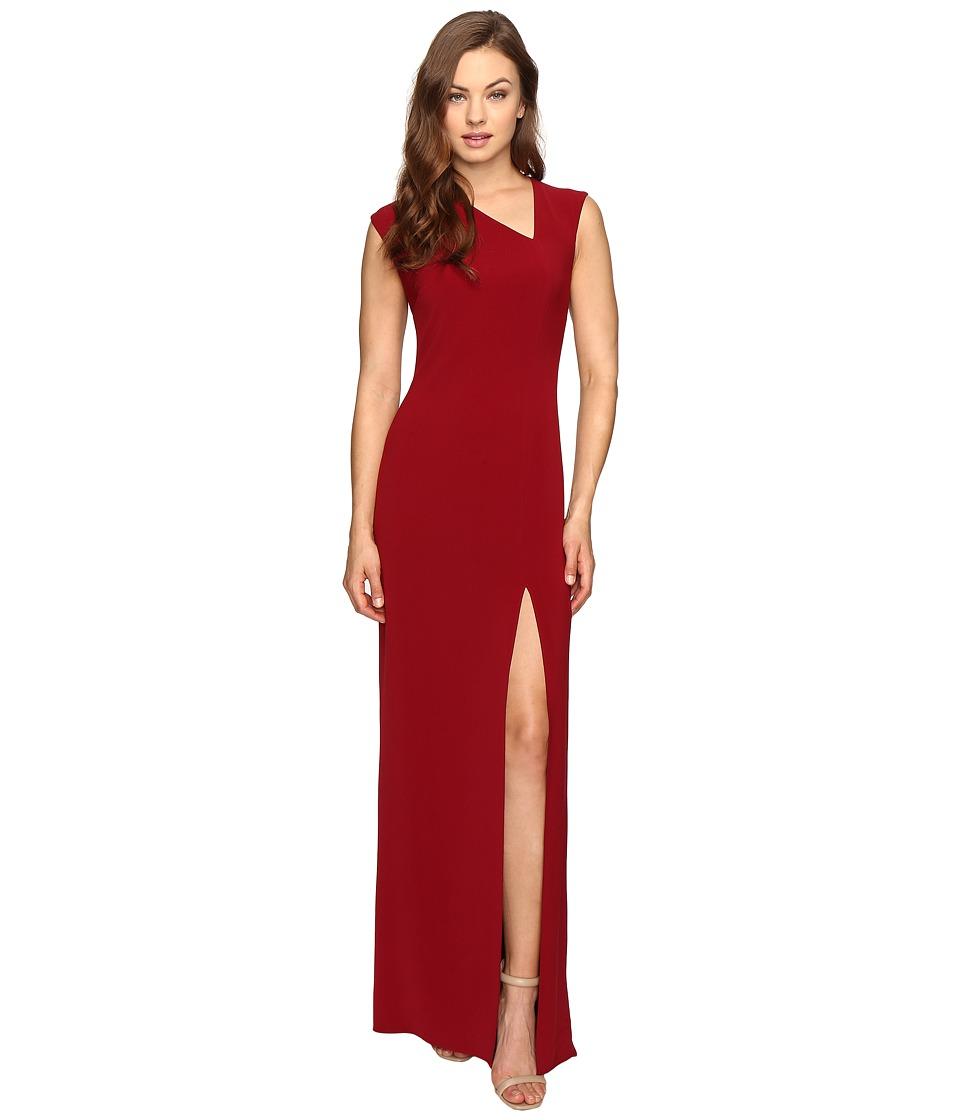 Halston Heritage Cap Sleeve Asymmetrical V-Neck Crepe Gown w/ Slit (Dahlia) Women