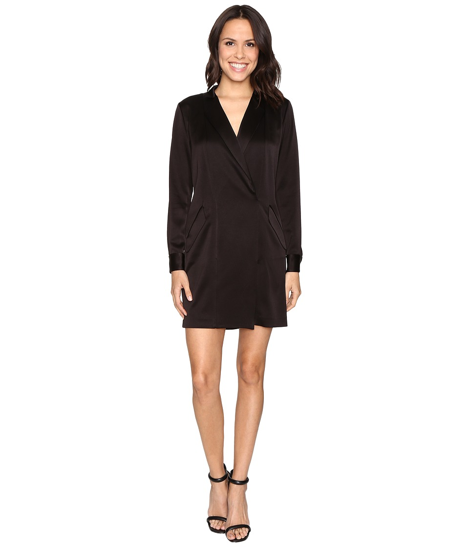 Halston Heritage - Long Sleeve Satin Shirtdress (Black) Women's Dress