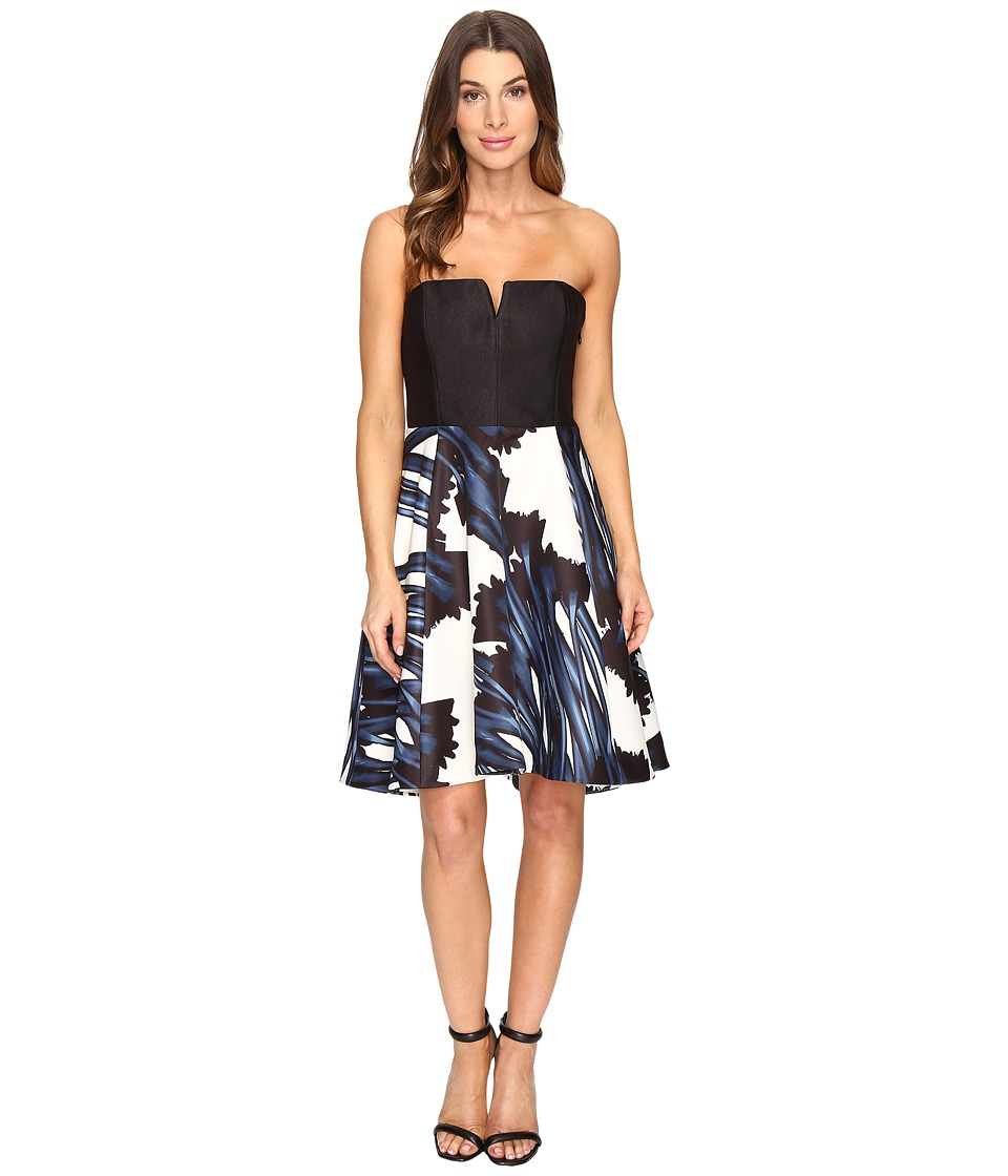Halston Heritage Strapless Notch Neck Printed Dress (Ink Crocus Print) Women