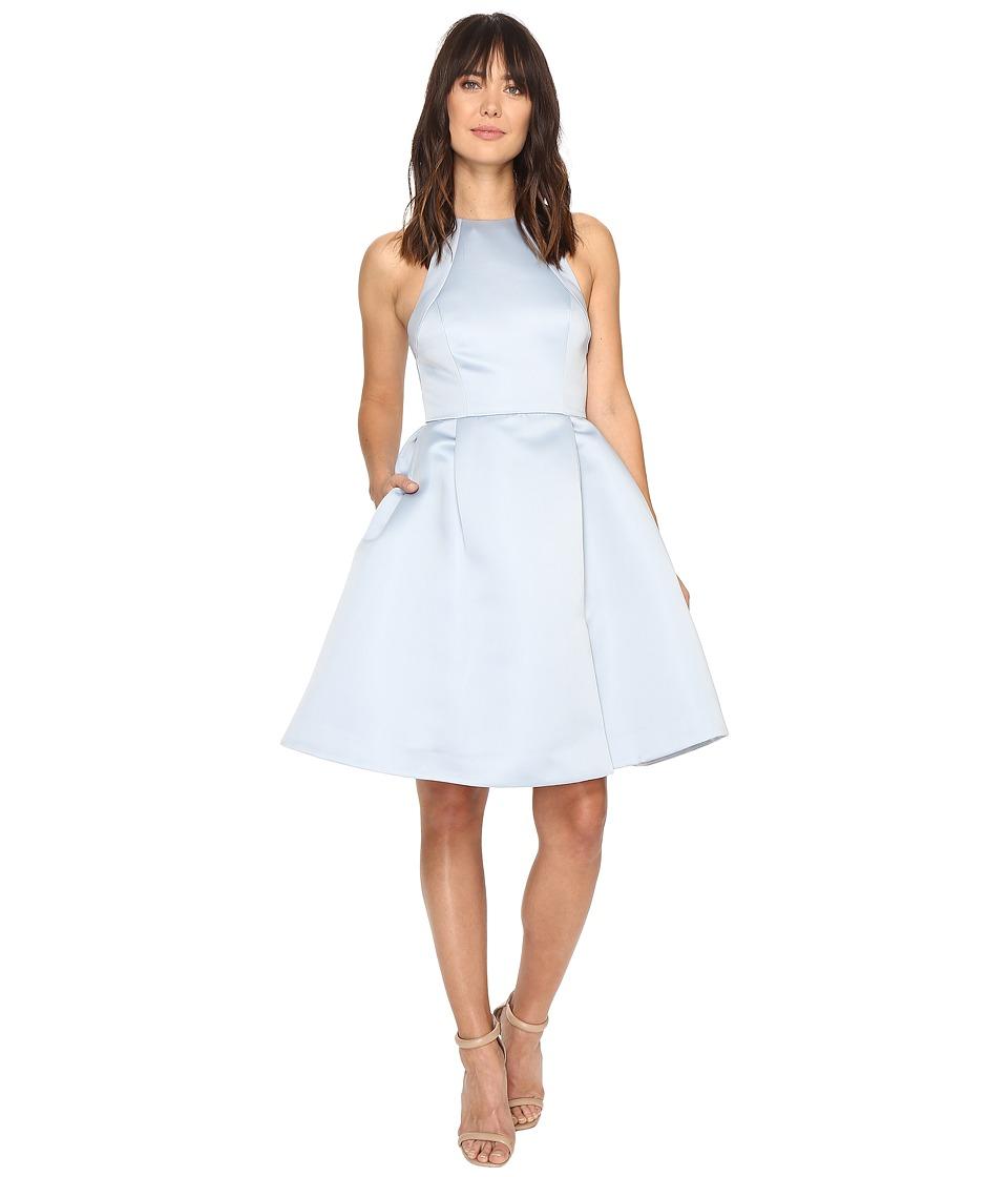 Halston Heritage - Sleeveless Round Neck Satin Faille Dress w/ Back Cut Out (Slate Grey) Women's Dress