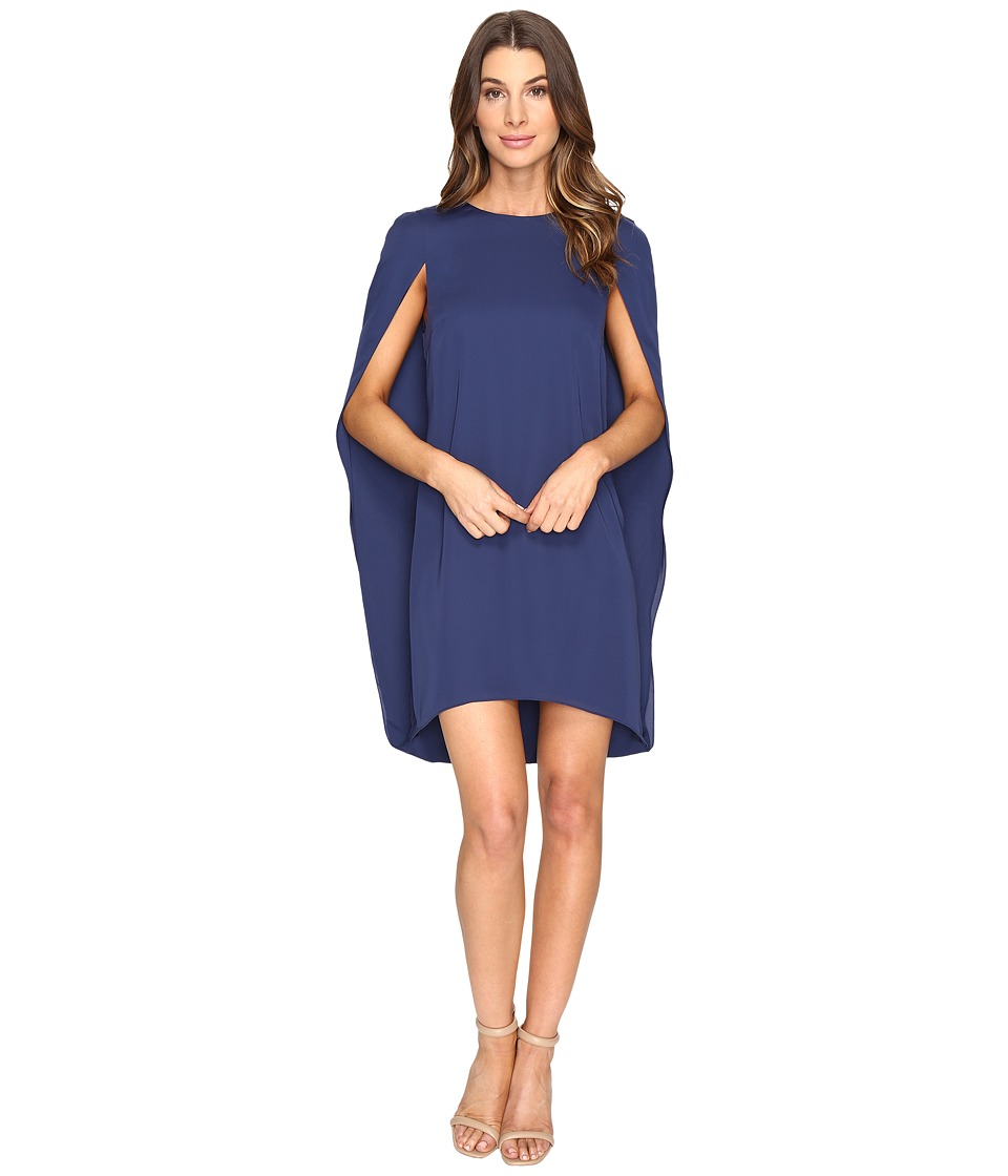 Halston Heritage - Cape Sleeve Round Neck Dress (Navy) Women's Dress
