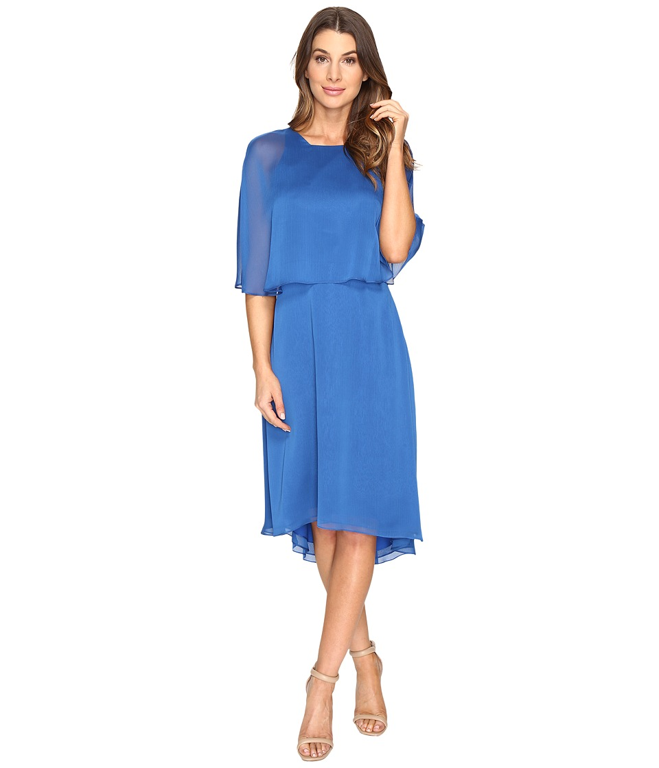 Halston Heritage - Short Sleeve Round Neck Dress w/ Back Cut Out Sash (Lapis) Women's Dress