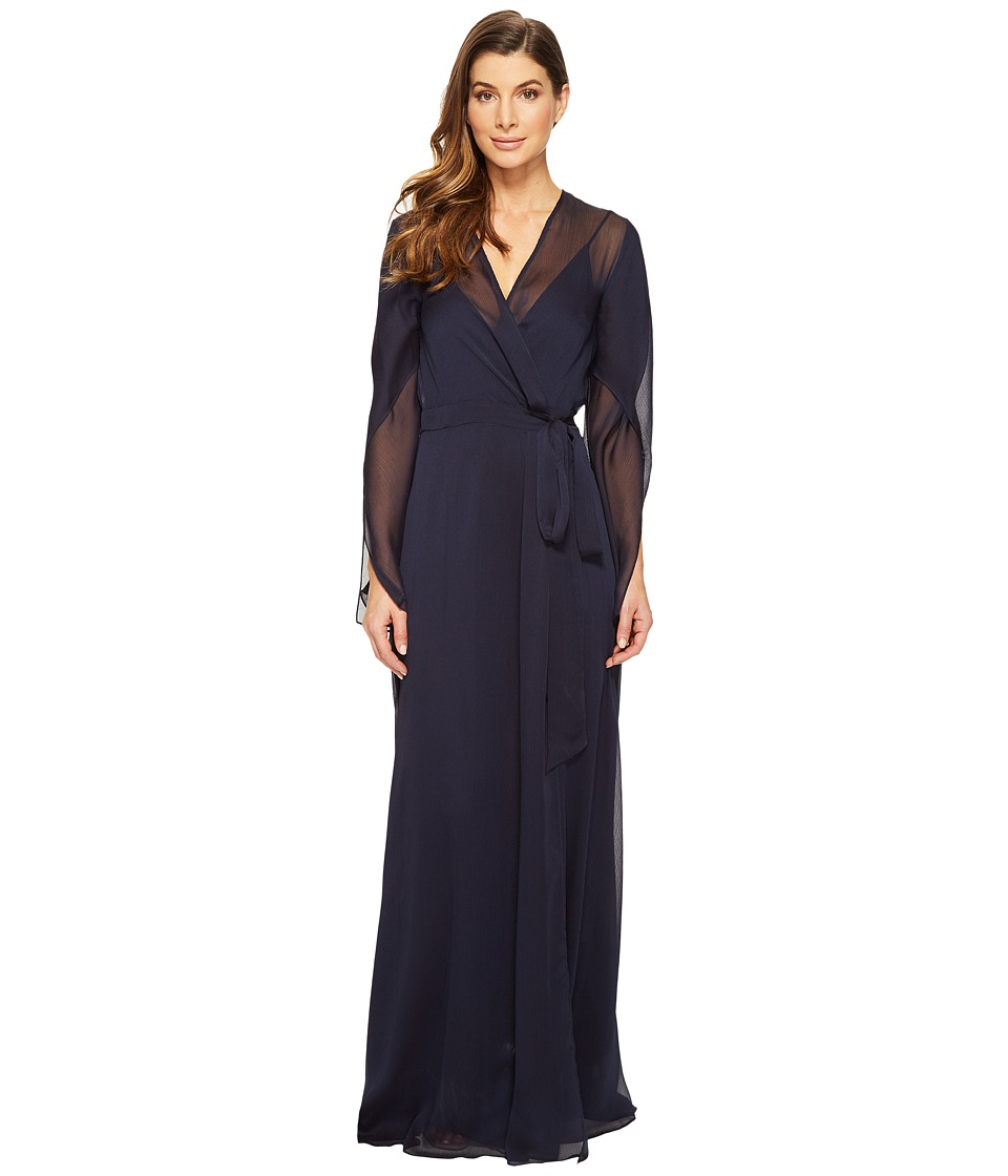 Halston Heritage Long Sleeve Deep V-Neck Flowy Gown w/ Sash (Dark Navy) Women