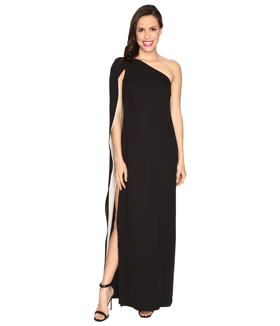 Halston Heritage - One Shoulder Column Gown w/ Cape (Black/Champagne) Women's Dress