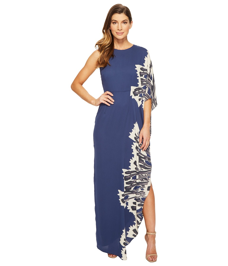 Halston Heritage One Sleeve Boat Neck Printed Gown (Dark Navy Crocus Border Print) Women