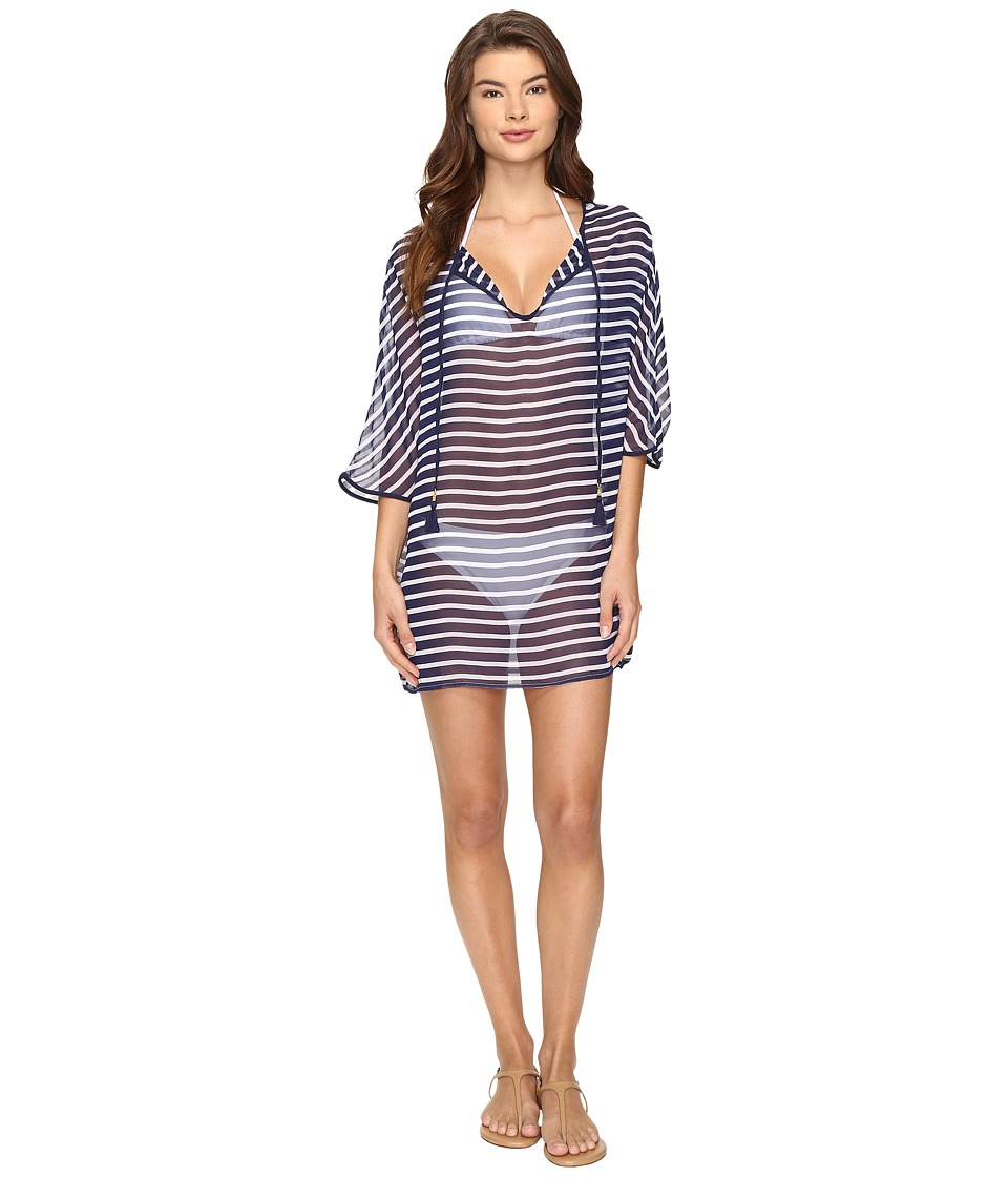 Tommy Bahama - Breton Stripe Tie Front Tunic Cover-Up (Mare Navy/White) Women's Swimwear