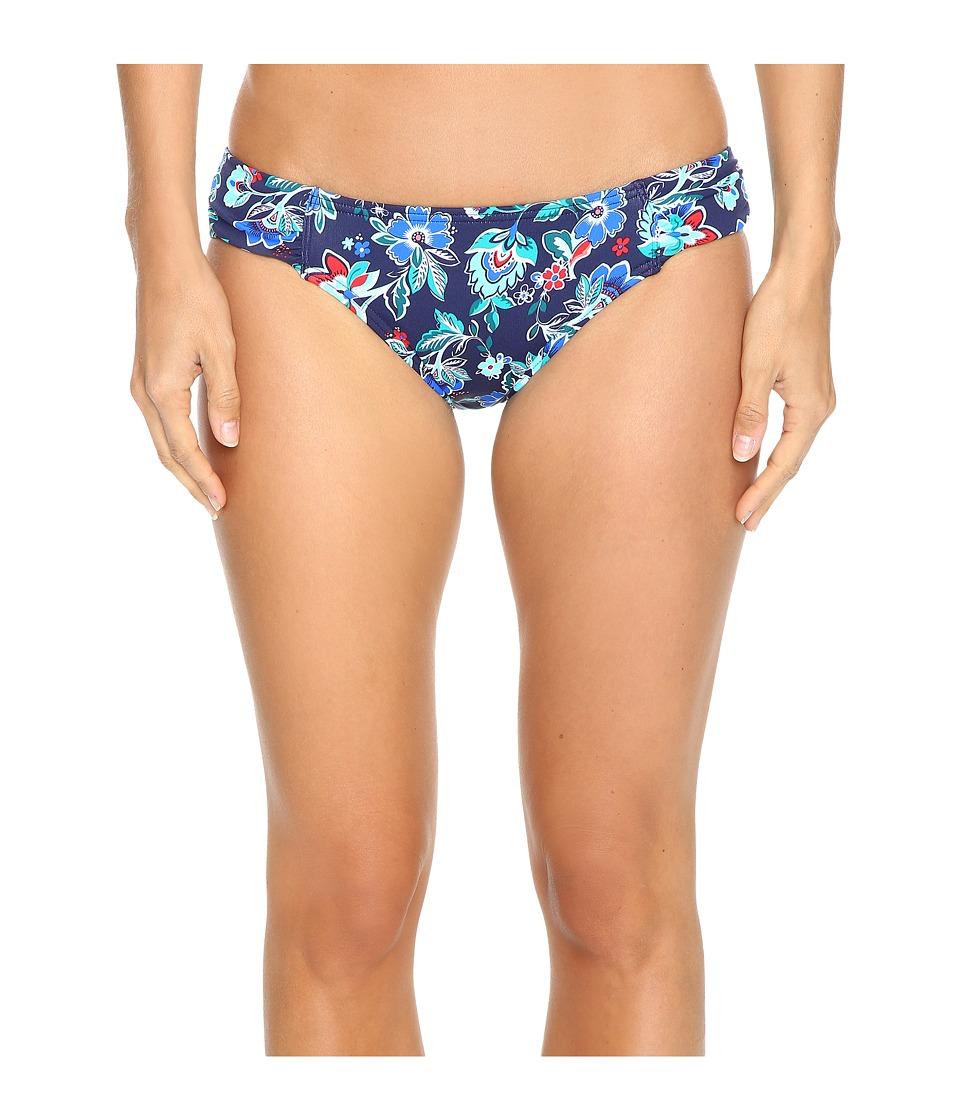Tommy Bahama - Folk Floral Side-Shirred Hipster Bikini Bottom (Mare Navy) Women's Swimwear