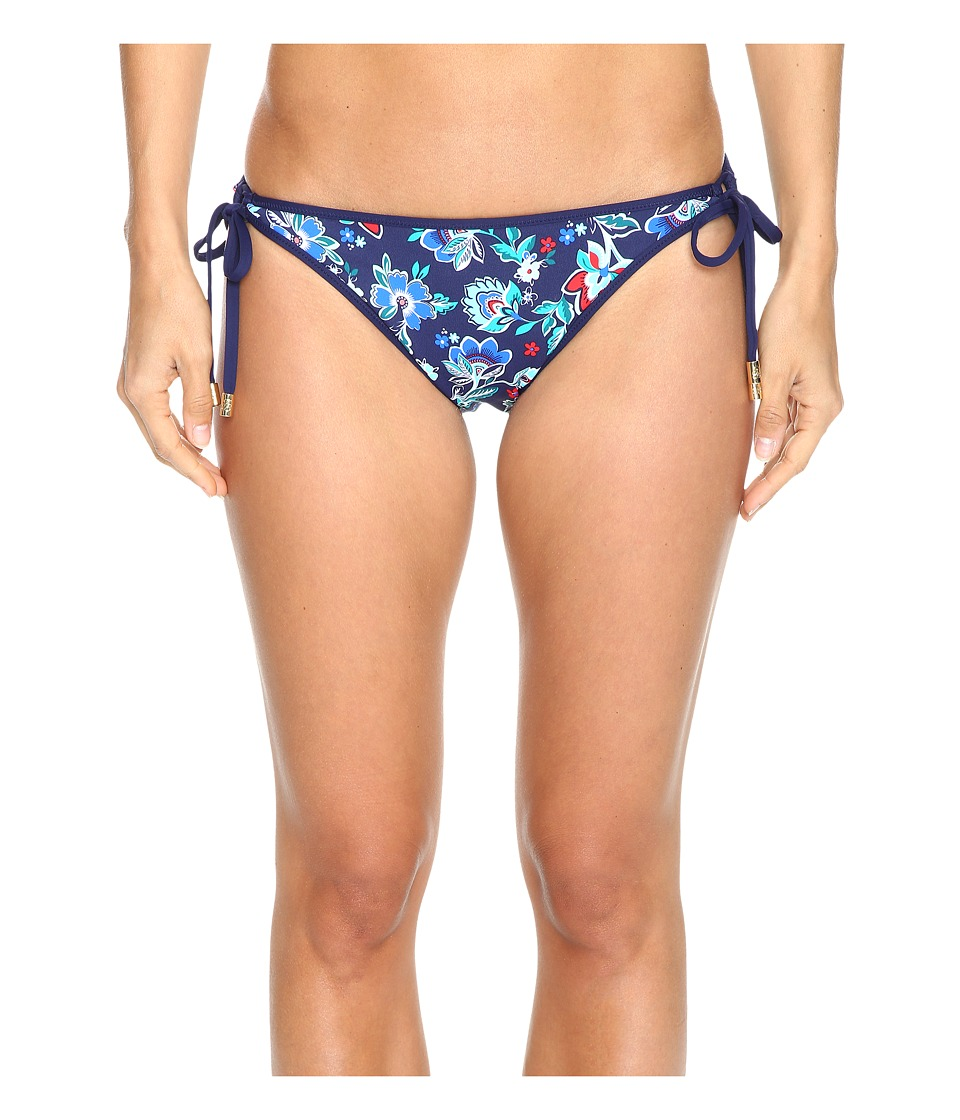 Tommy Bahama - Folk Floral Reversible Loop-Tie Hipster Bikini Bottom (Mare Navy) Women's Swimwear