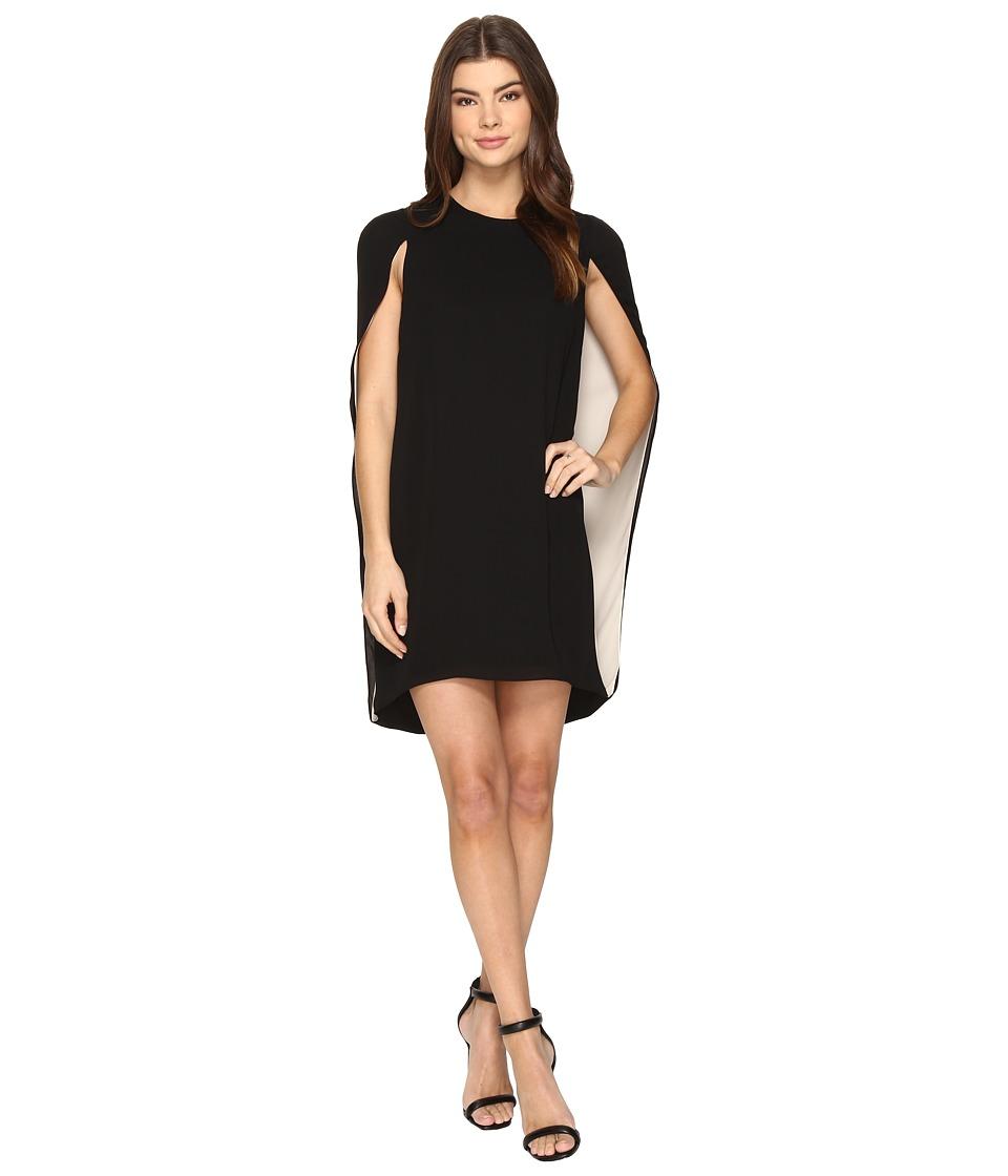 Halston Heritage Cape Sleeve Round Neck Color Blocked Dress (Black/Champagne) Women