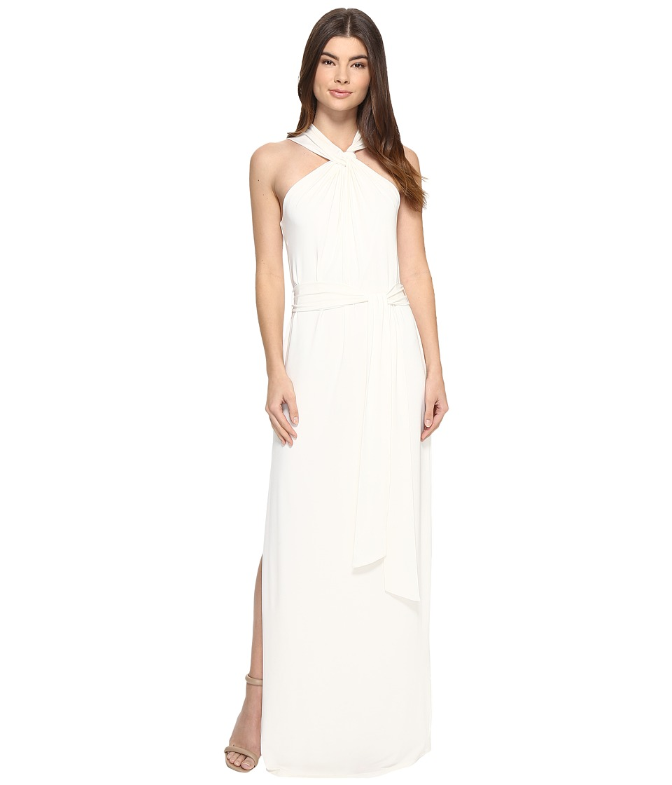 Halston Heritage Sleeveless Knot Drape Neck Jersey Gown Sash Chalk Dress