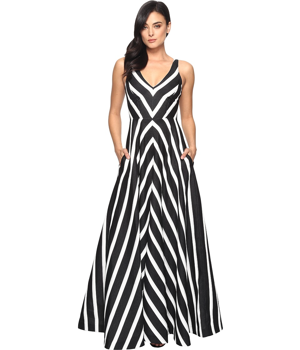 Halston Heritage - Sleeveless V-Neck Striped Jacquard Gown (Black/Chalk/Metallic Stripe) Women's Dress