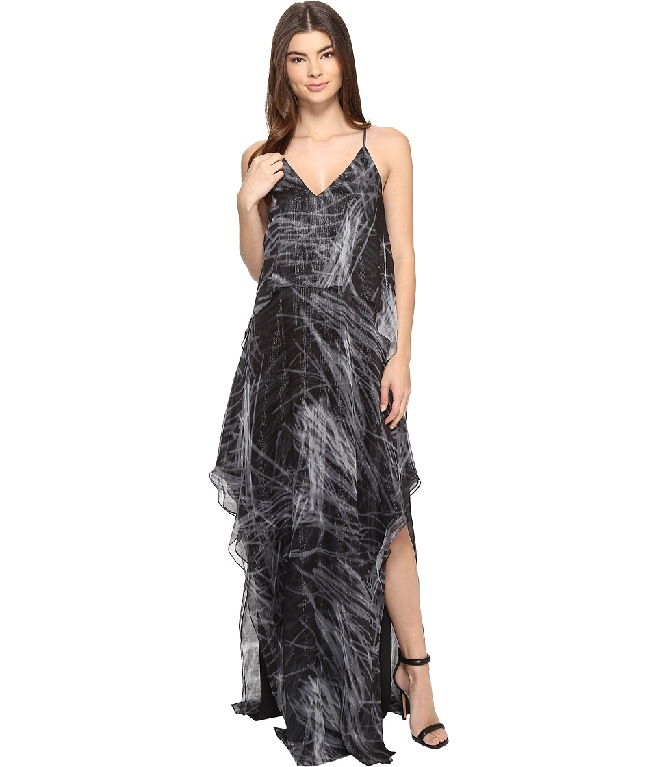 Halston Heritage - Sleeveless Cami Flowy Printed Gown (Black Reflections Print) Women's Dress