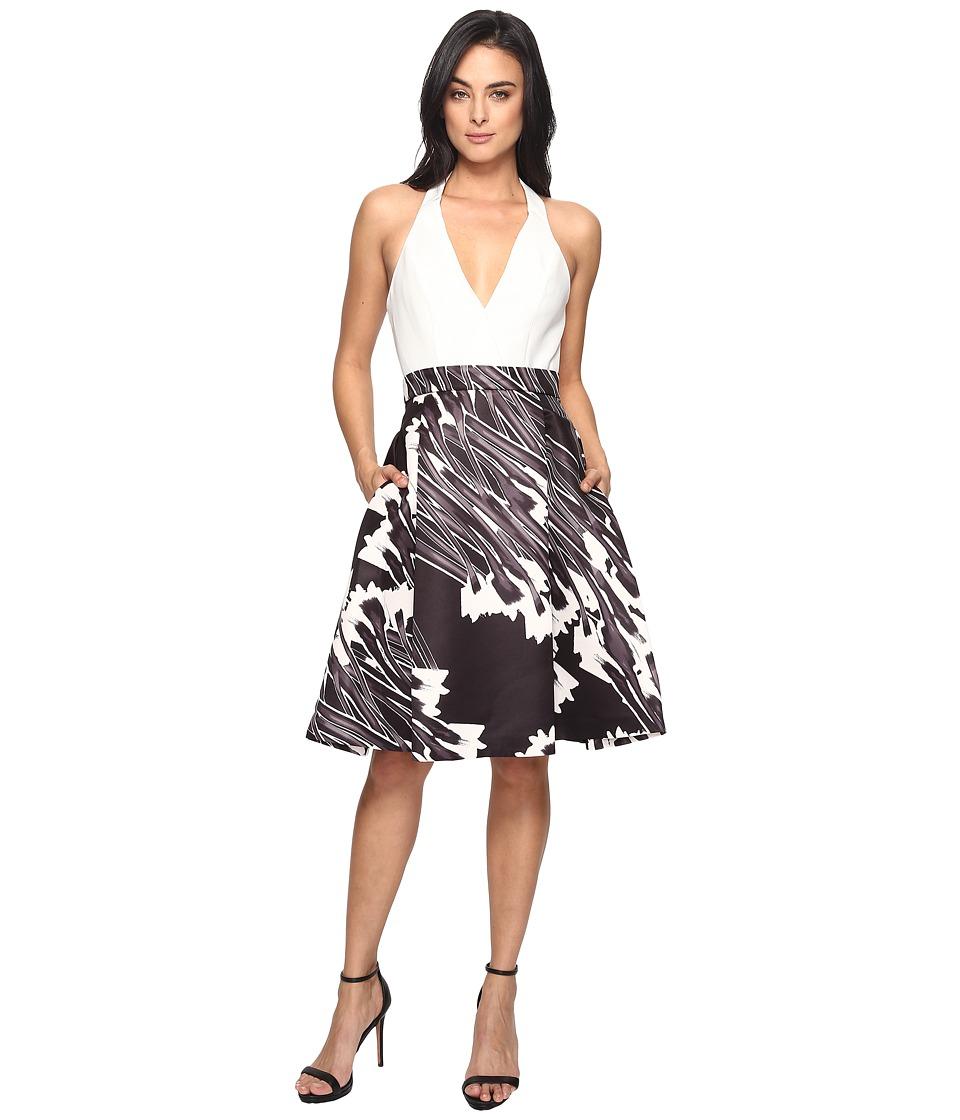 Halston Heritage - Sleeveless Halter Neck Print Blocked Dress (Black Crocus Print) Women's Dress