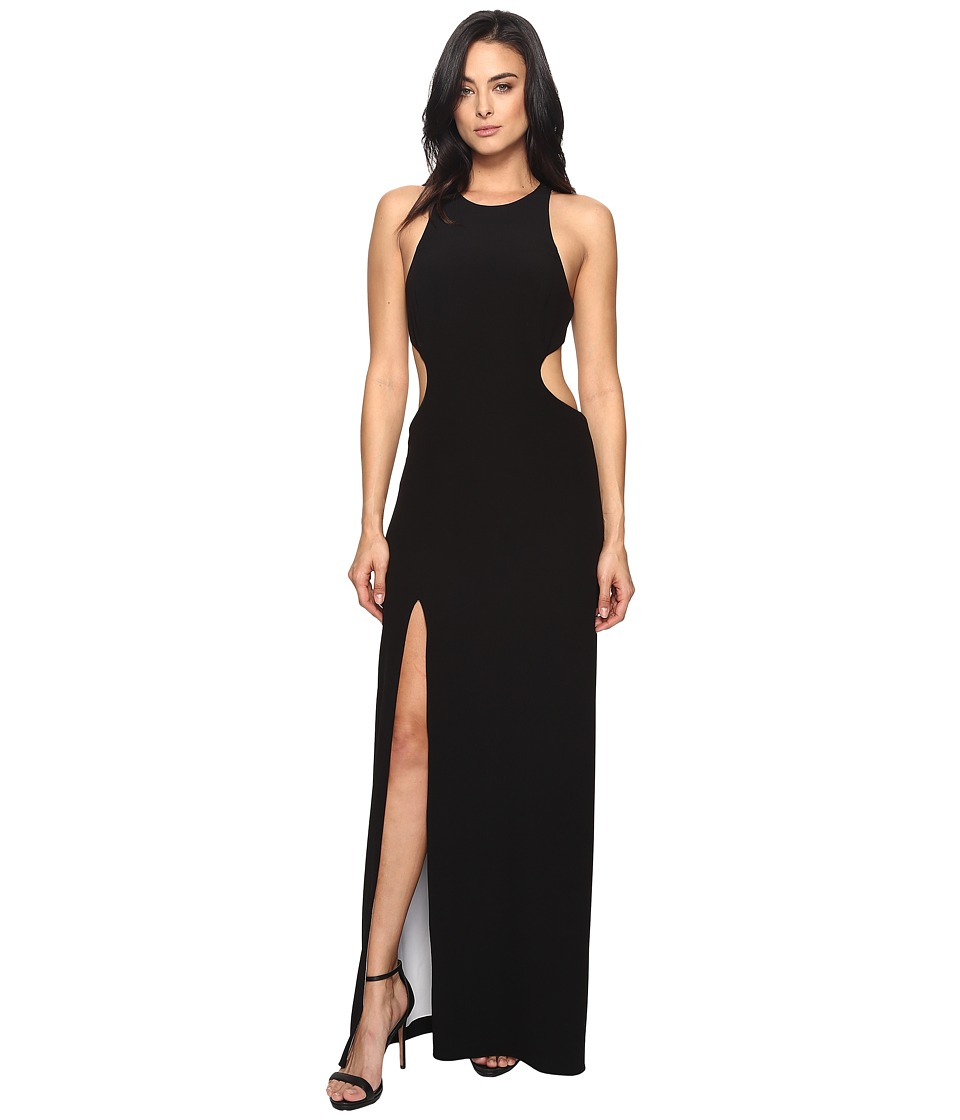 Halston Heritage Sleeve Long Round Neck Color Blocked Gown w/ Back Cut Out (Black/Chalk) Women