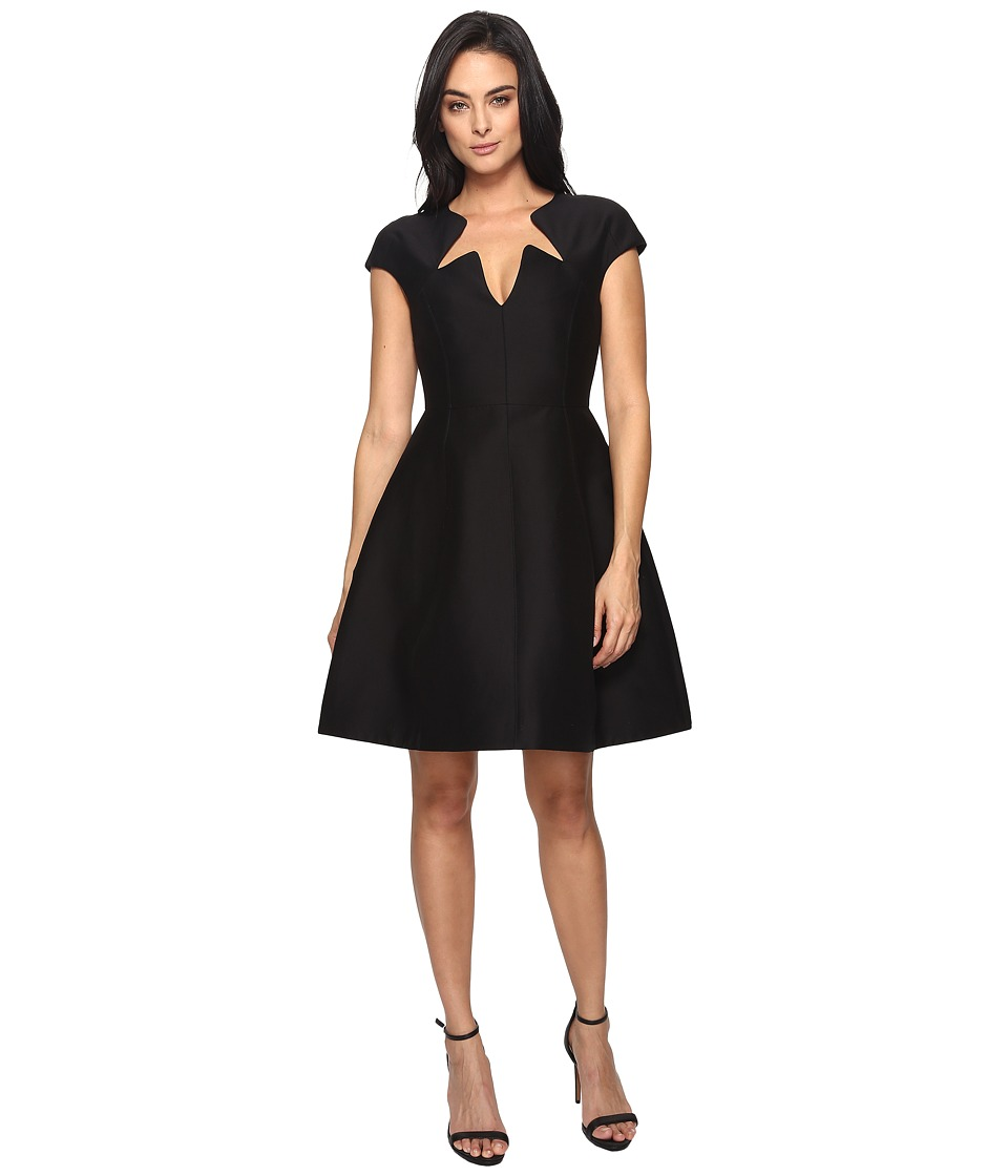 Halston Heritage Cap Sleeve Notched Neck Silk Faille Dress (Black) Women