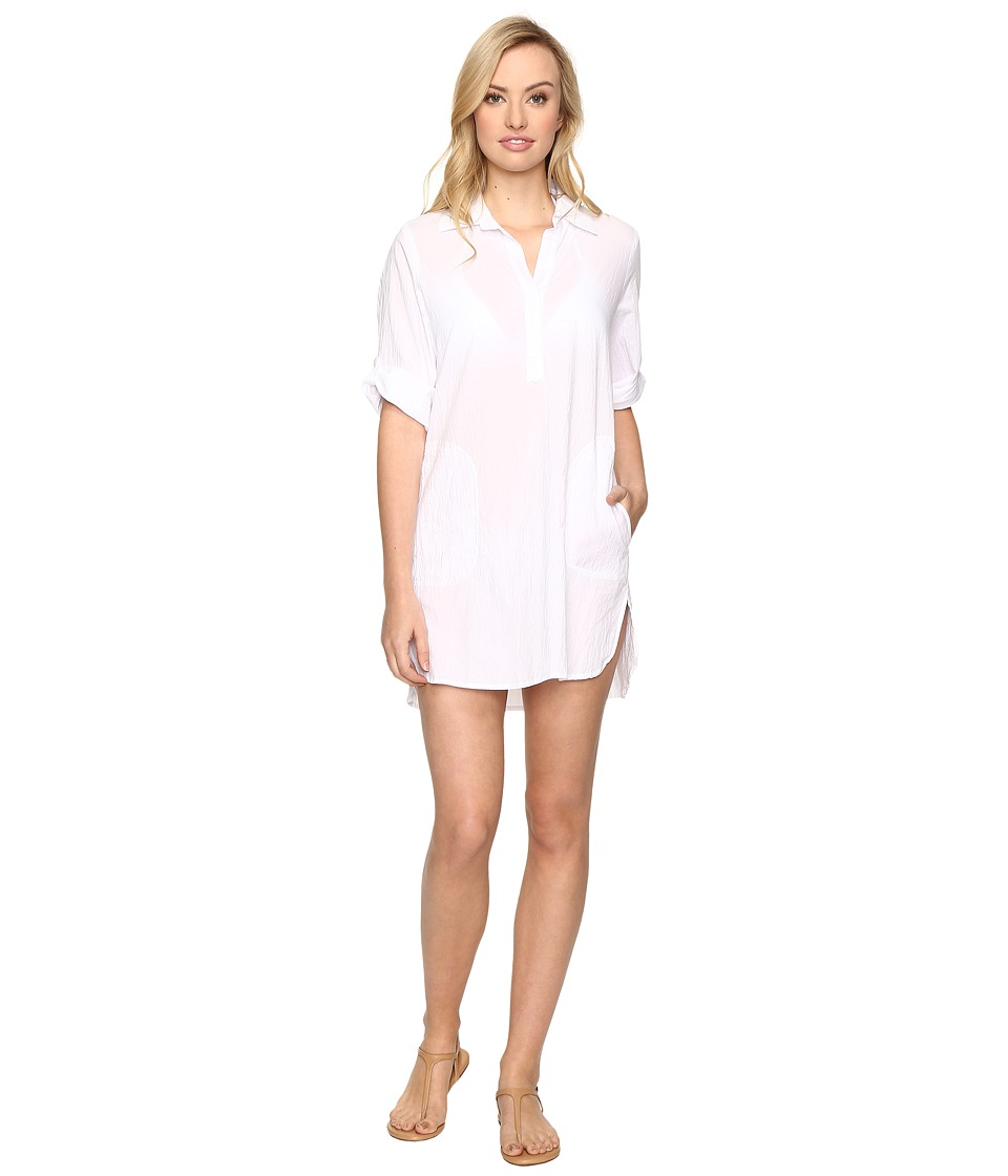 Tommy Bahama - Crinkle Cotton Popover Dress Cover-Up (White) Women's Swimwear