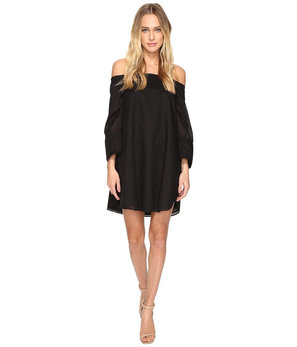 Halston Heritage - Wide Long Sleeve Dress w/ Cold Shoulder Detail (Black) Women's Dress