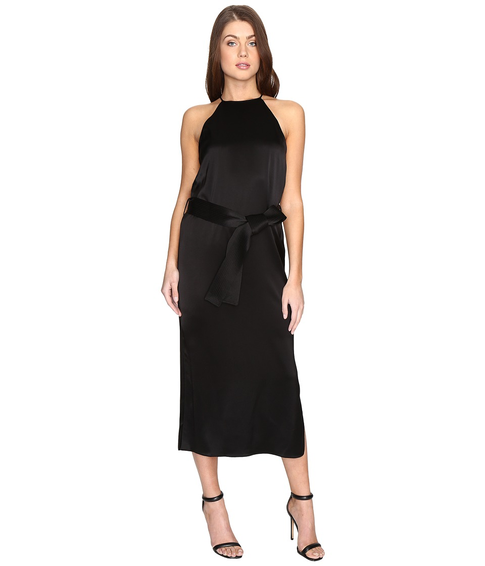 Halston Heritage - Sleeveless Racerback Satin Slip Dress w/ Sash (Black) Women's Dress