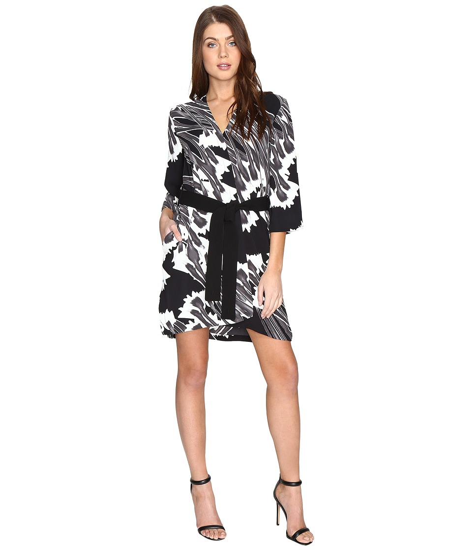 Halston Heritage - Long Sleeve Printed Kimono Dress w/ Sash (Black Crocus Print) Women's Dress