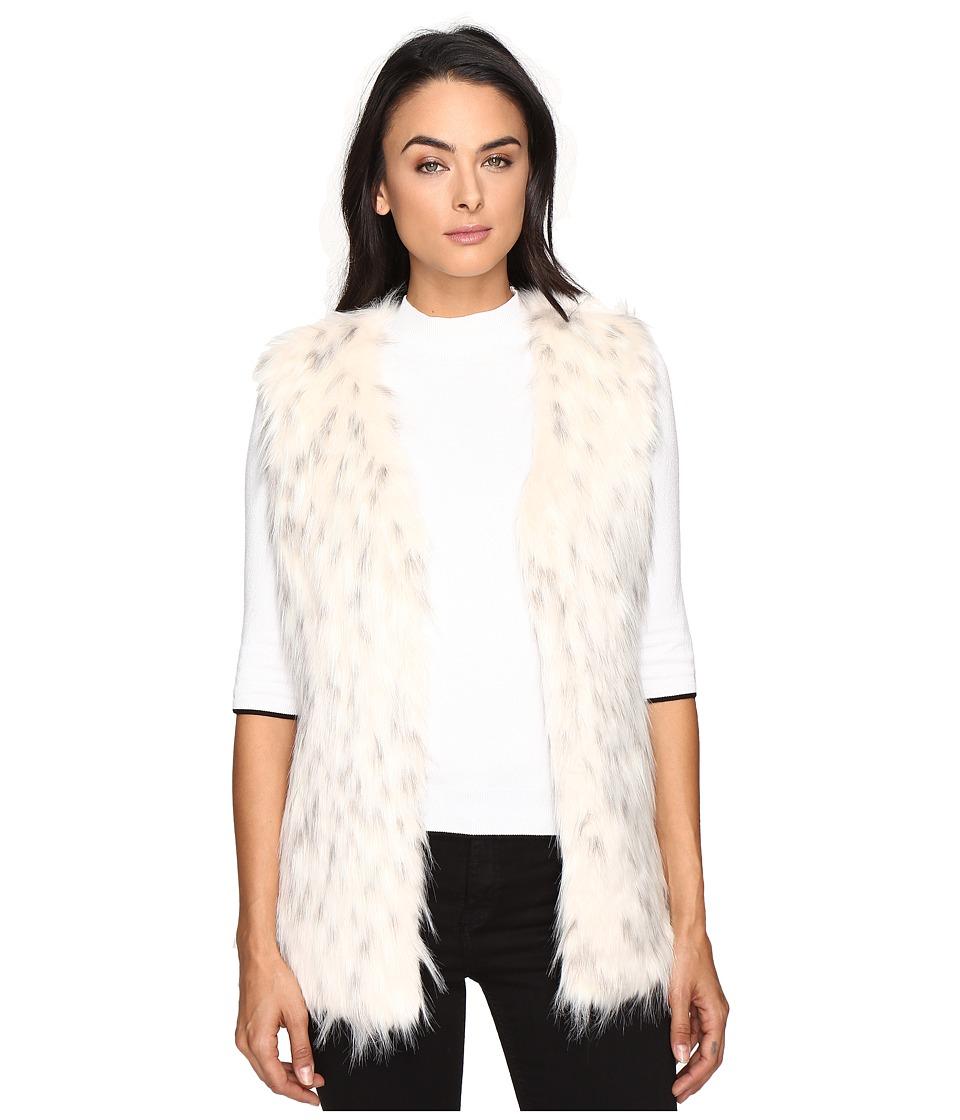 Via Spiga - Faux Fur Tripped Vest (White/Black) Women's Vest