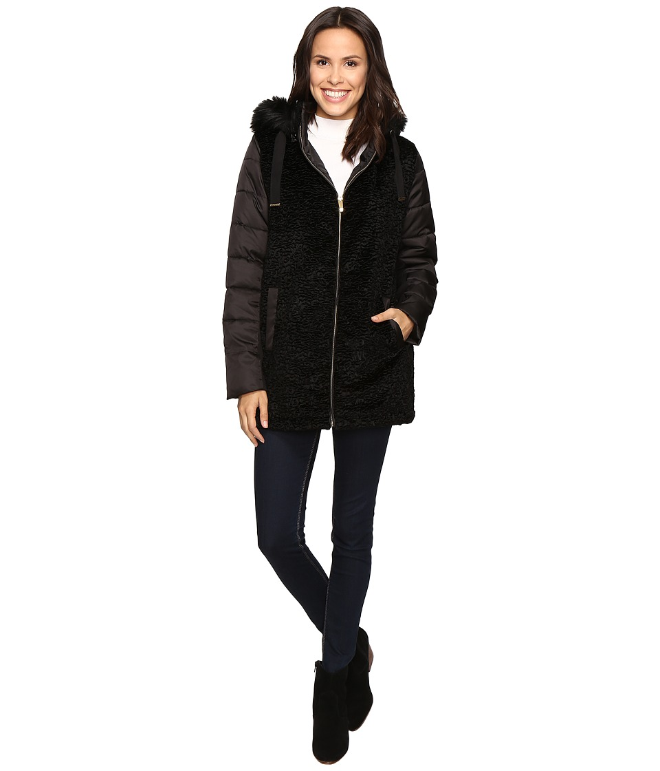 Via Spiga - Mixed Media Polyfill Coat (Black) Women's Coat