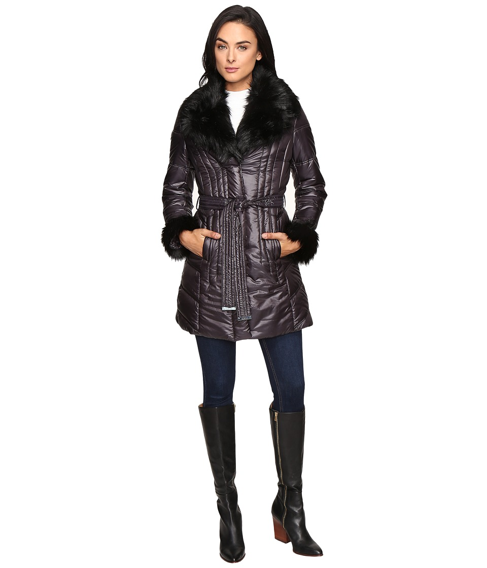 Via Spiga - Soft Down Coat (Slate) Women's Coat