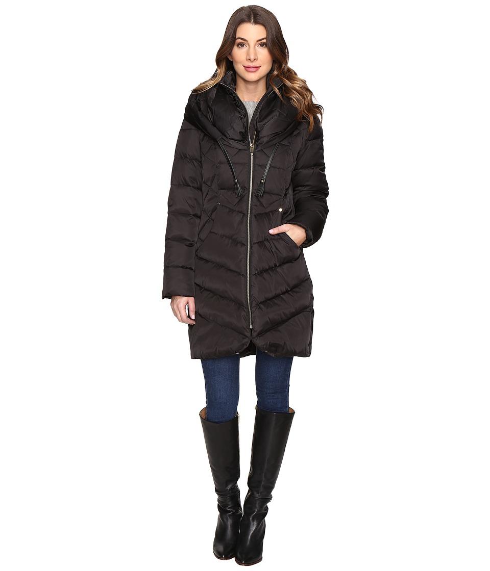 Via Spiga - Pillow Collar Coat with PU Cord (Black) Women's Coat