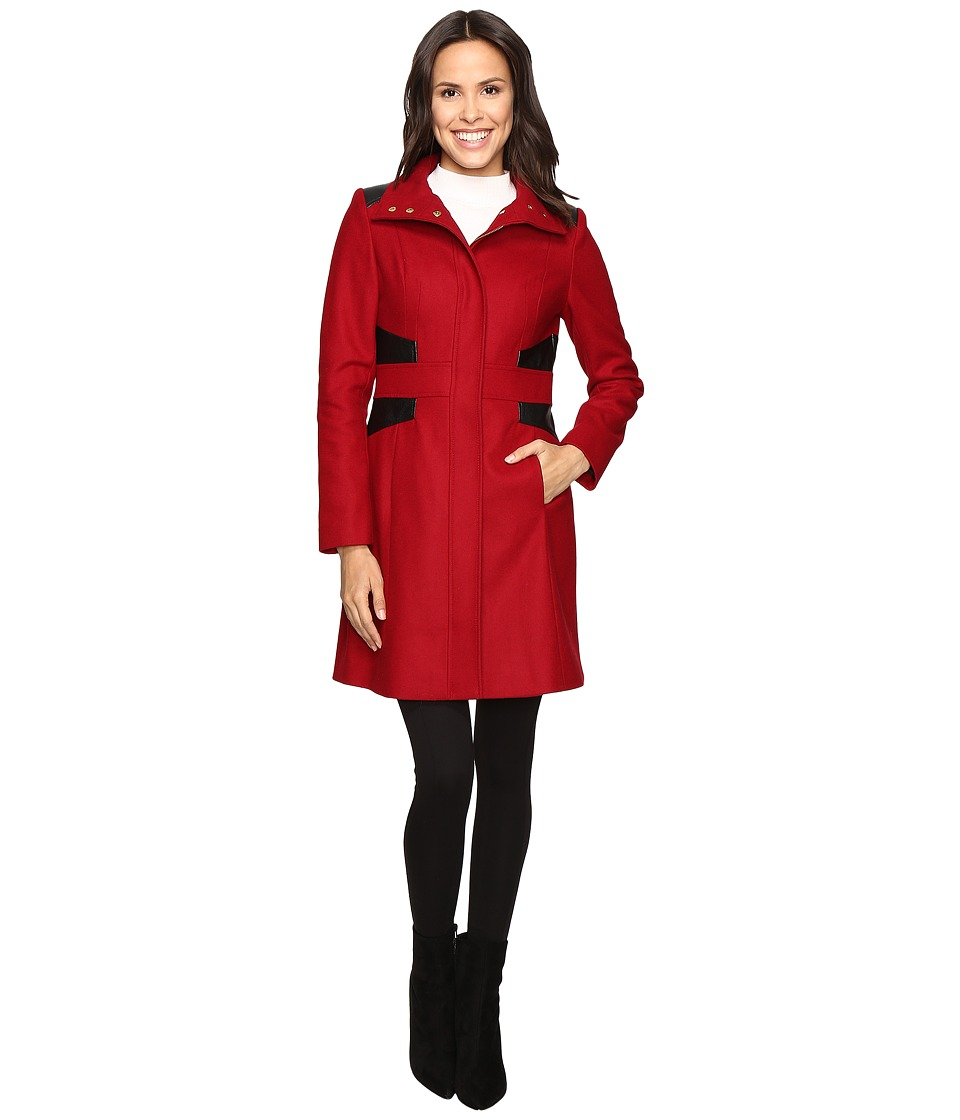 Via Spiga - Stand Collar Coat w/ PU (Via Red) Women's Coat