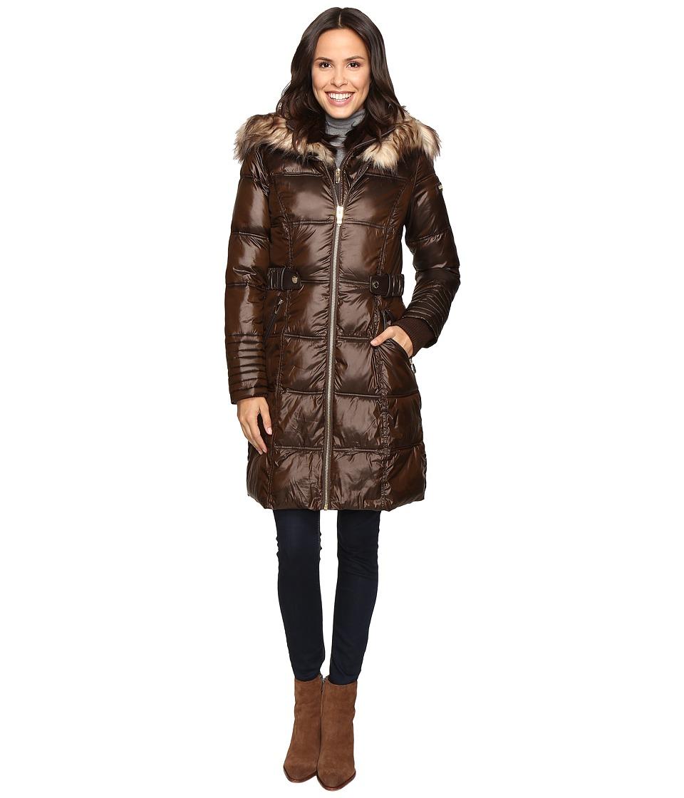 Via Spiga - Polyfill Front Zip Coat (Brown) Women's Coat