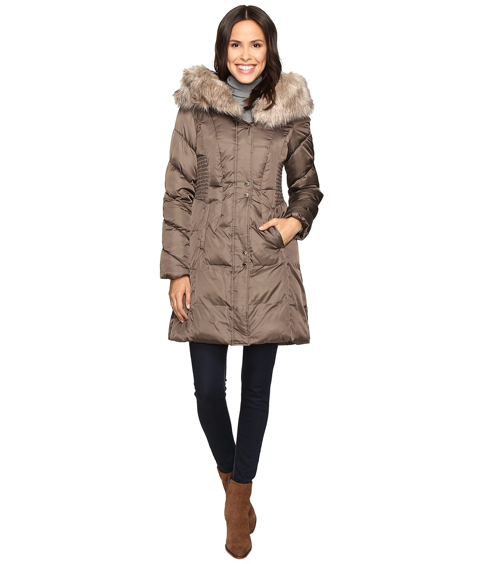 Via Spiga - Faux Fur Trimmed Hood Winter Coat (Pecan Shell) Women's Coat