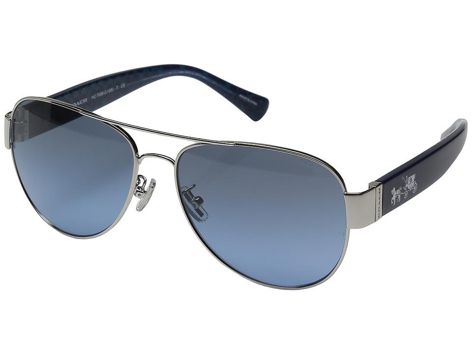 COACH - 0HC7059 (Silver/Milky Navy) Fashion Sunglasses