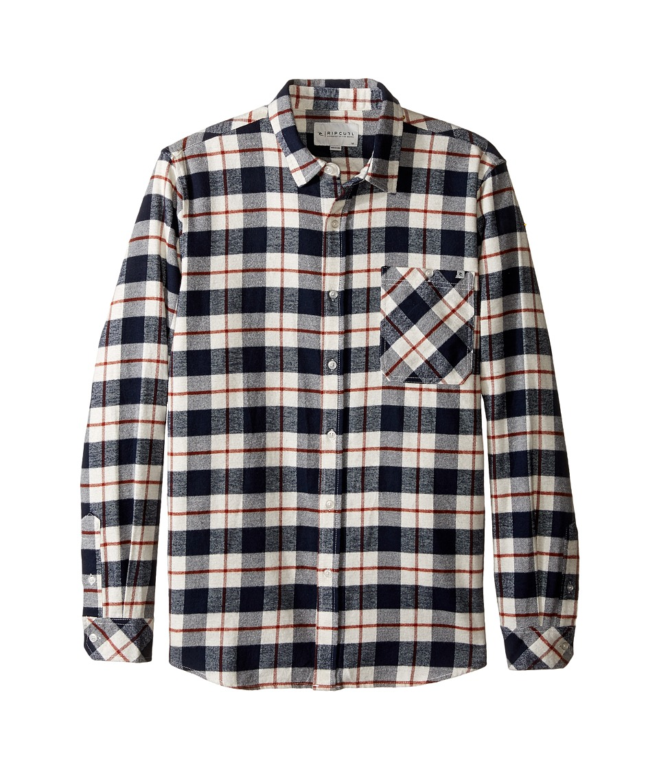 Rip Curl - Countdown Long Sleeve Flannel (Navy) Men's Clothing