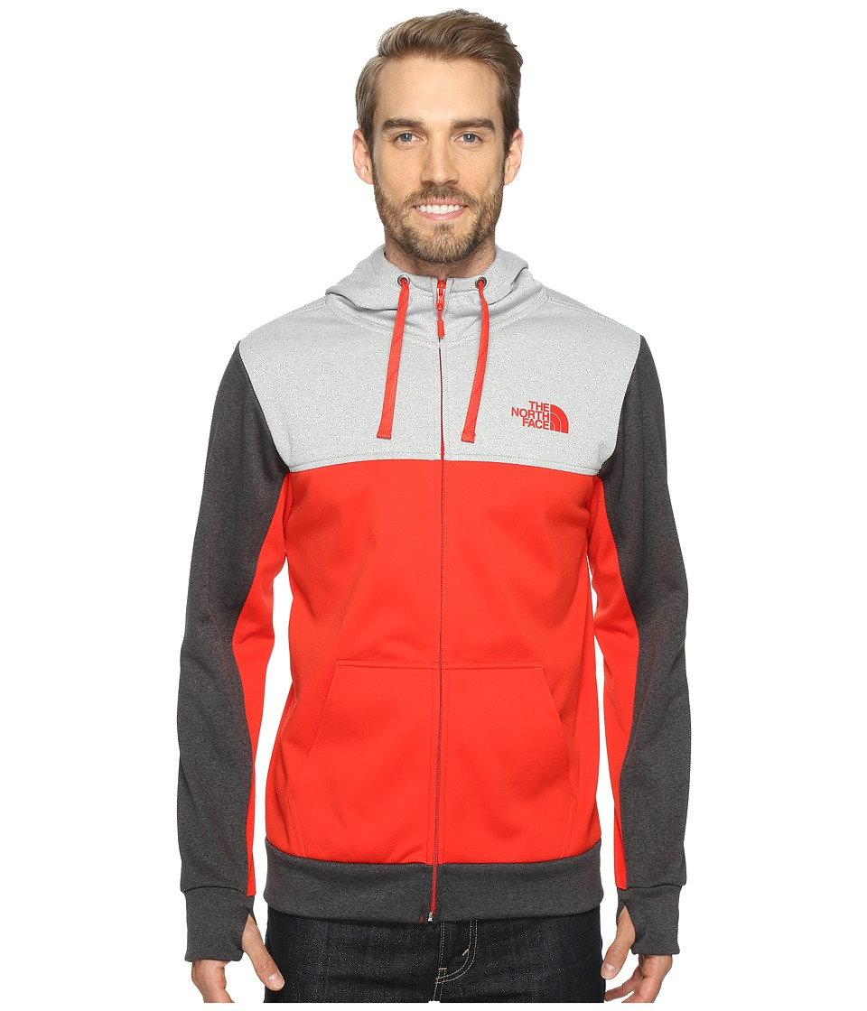 The North Face - Surgent Block Full Zip Hoodie (High Risk Red/TNF Light Grey Heather (Prior Season)) Men's Sweatshirt
