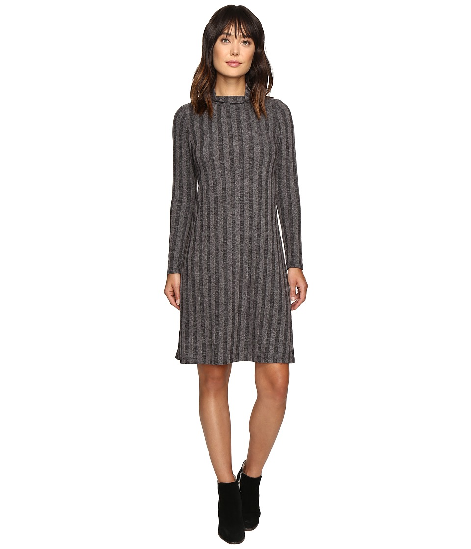 B Collection by Bobeau - Ribbed Knit Mock Neck Dress (Charcoal Grey) Women's Dress