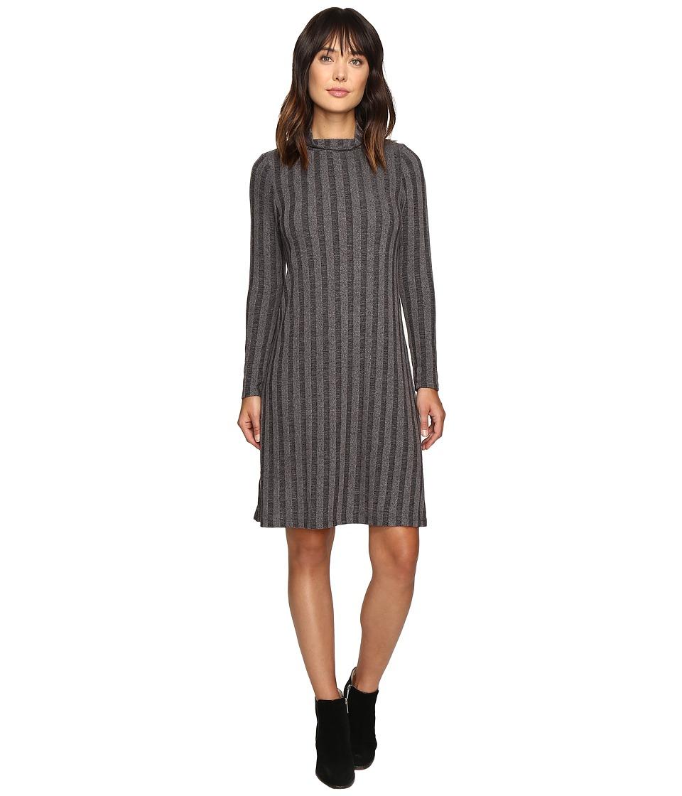 B Collection by Bobeau Ribbed Knit Mock Neck Dress (Charcoal Grey) Women
