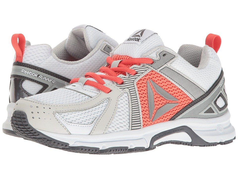 Reebok - Reebok Runner (White/Skull Grey/Fire Coral/Ash Grey/Pewter) Women's Shoes