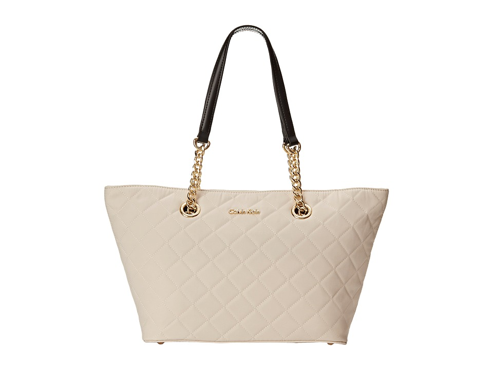 Calvin Klein - Florence Dressy Quilted Nylon Tote (Off-White/Black) Tote Handbags