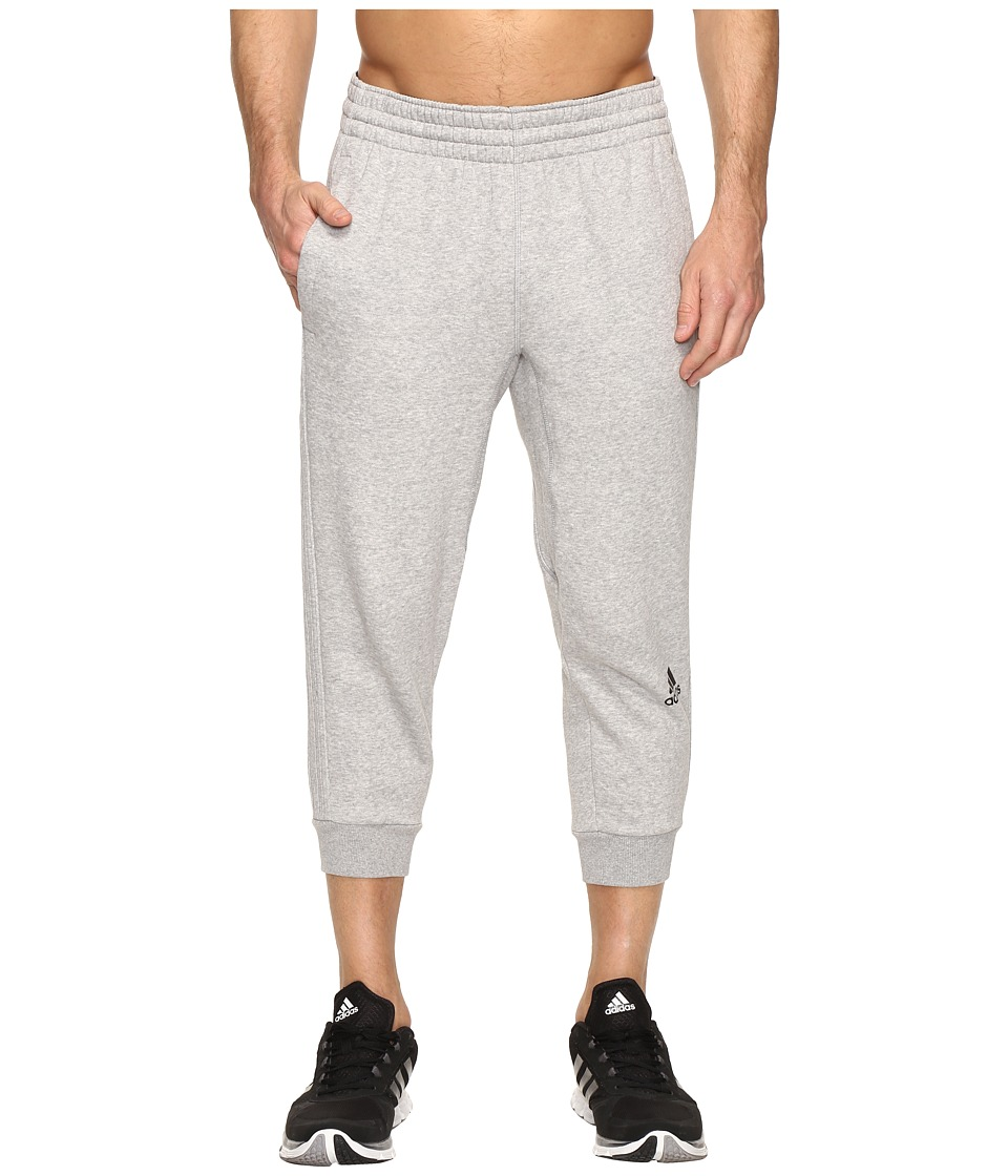 adidas - Slim 3-Stripes 3/4 Pants (Medium Grey Heather/Medium Grey Heather) Men's Workout