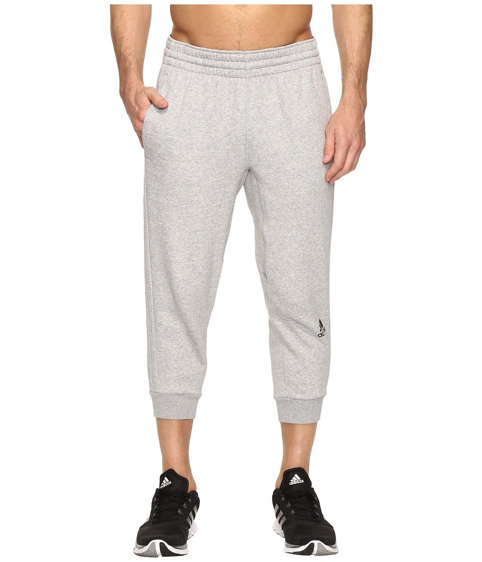 adidas - Slim 3-Stripes 3/4 Pants (Medium Grey Heather/Medium Grey Heather) Men's Workout