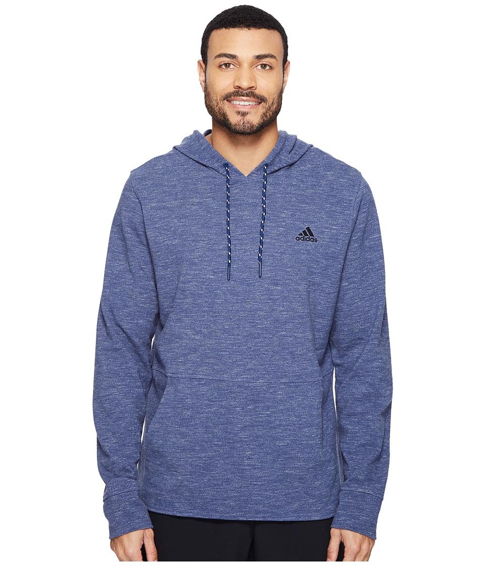 adidas - Essentials Heather Pique Pullover Hoodie (Mystery Blue/Colored Heather) Men's Sweatshirt