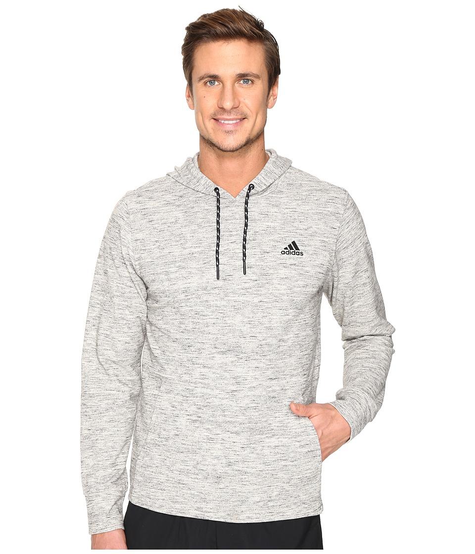 adidas - Essentials Heather Piqu Pullover Hoodie (Medium Grey Heather) Men's Sweatshirt