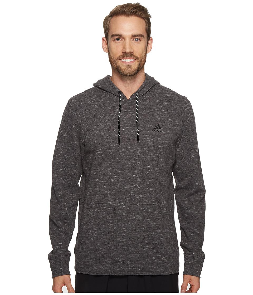 adidas - Essentials Heather Piqu Pullover Hoodie (Dark Grey Heather) Men's Sweatshirt