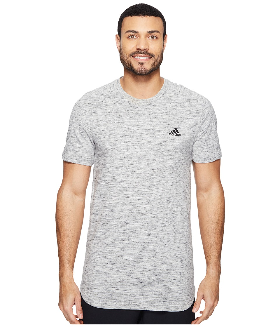 adidas - Essentials Heathered Piqu Tee (Medium Grey Heather) Men's T Shirt